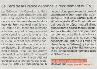Cantonales : Henri Ferey du Parti de la France sur Balleroy 2011-011