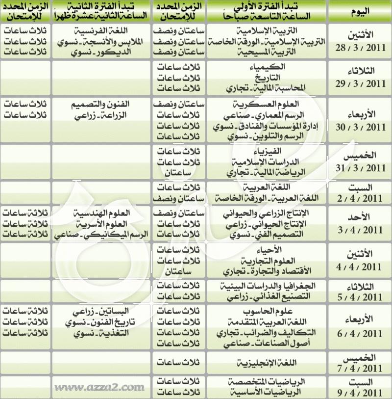 جدول امتحانات الشهادة السودانية الاثنين 28 مارس 2011 Test_210