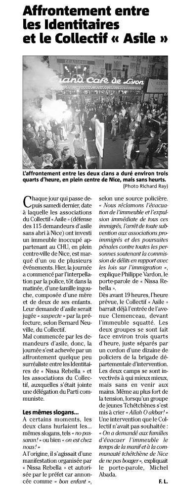"""Nice : """"La résistance identitaire fait face aux collabos de l'invasion rue Clémenceau"""" (vidéo) Identi10"""