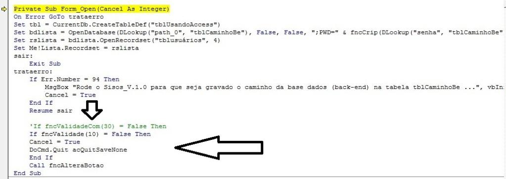 [Resolvido]Como acrescentar código no evento ao abrir do FORME PRINCIPAL? Erro_a10