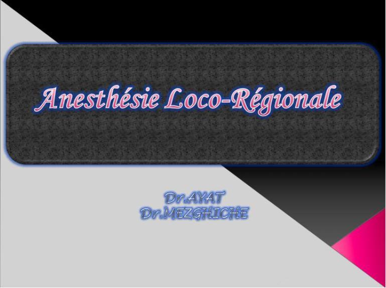 Anesthesie loco-régionale Sans_t12