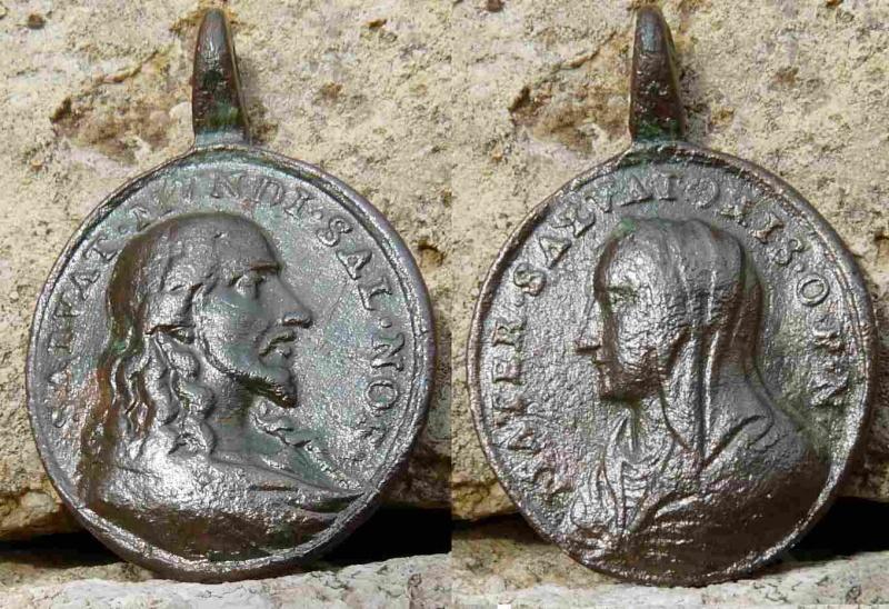 "Médaille Jésus & Marie - type ""Salvator Mvndi"" - XVII/XVIIIème  Mater10"