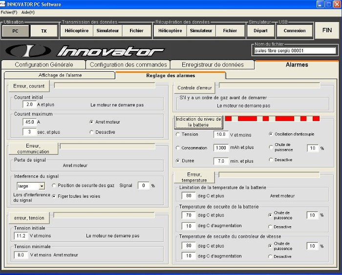 Les différentes alarmes actives du soft Niv_ba10