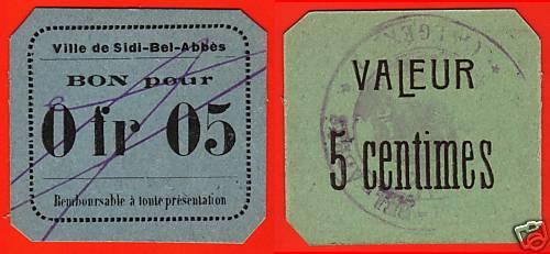 Billets de nécessité de SIDI-BEL-ABBÉS Algérie Buwu6610