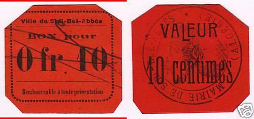 Billets de nécessité de SIDI-BEL-ABBÉS Algérie Buwvoi10