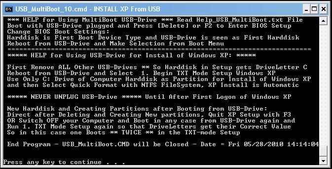 How to create a Multiboot USB with Windows XP + Hiren's BootCD 10.4 + Windows 7 Setup Finish10