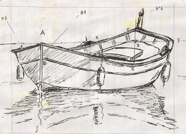 Méthode pour dessiner les pointus , bateaux de Méditéranée , pointus de l'avant comme de l'arrière . Pointu13