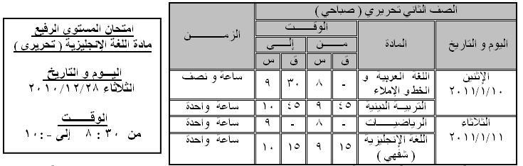 جدول امتحان نصف العام للصفوف من الأول للخامس الإبتدائي 211