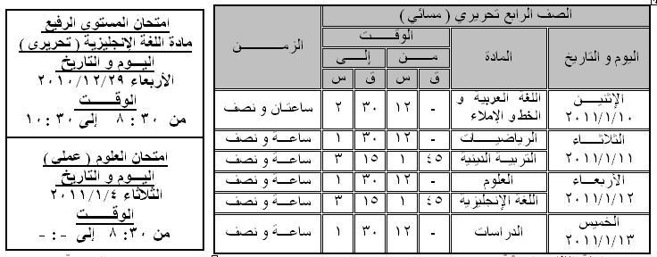 جدول امتحان نصف العام للصفوف من الأول للخامس الإبتدائي 411