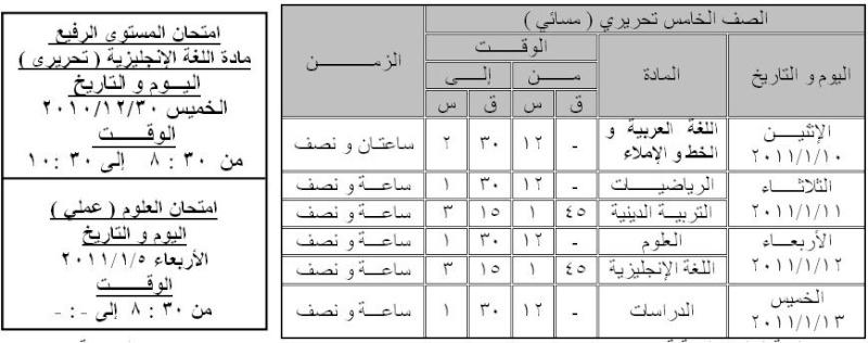جدول امتحان نصف العام للصفوف من الأول للخامس الإبتدائي 513