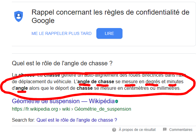 Parallélisme.    chasse.   Carrossage Angle10
