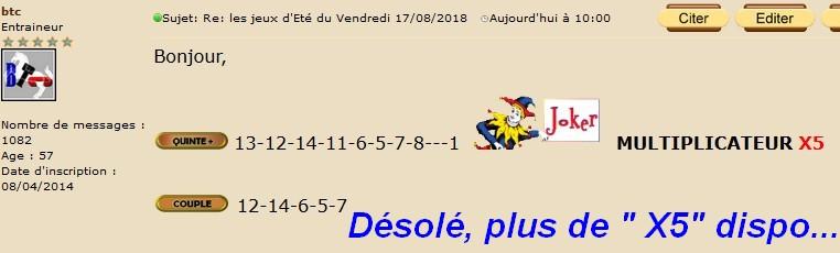 Résultats du Vendredi 17/08/2018 Btc10