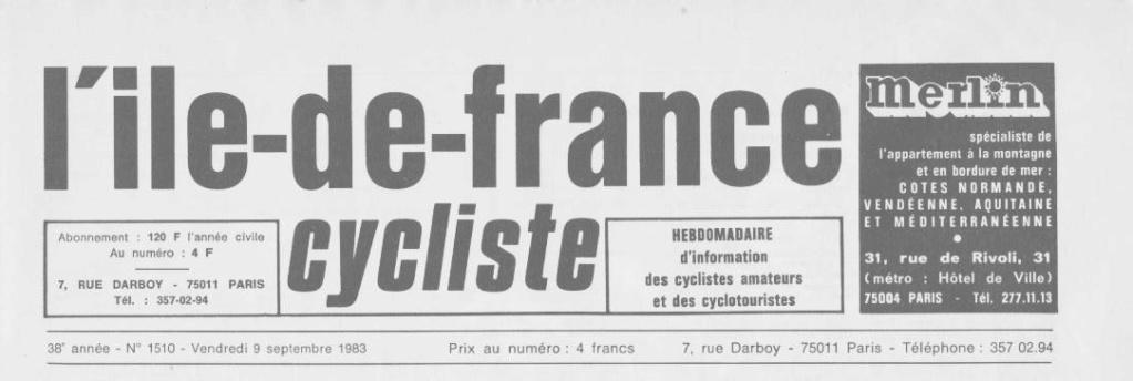 Coureurs et Clubs de septembre 1983 à .......... 00168