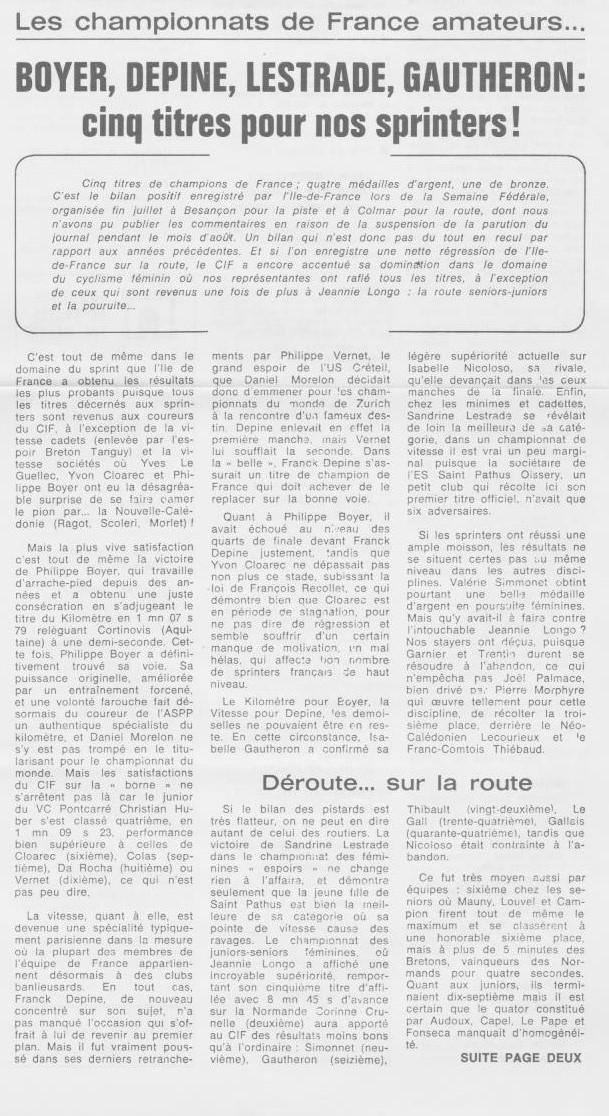 Coureurs et Clubs de septembre 1983 à .......... 00368