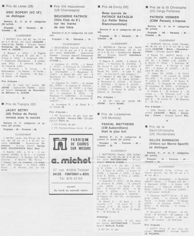 Coureurs et Clubs de septembre 1983 à .......... 00565