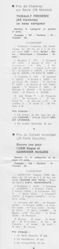 Coureurs et Clubs de septembre 1983 à .......... 00664
