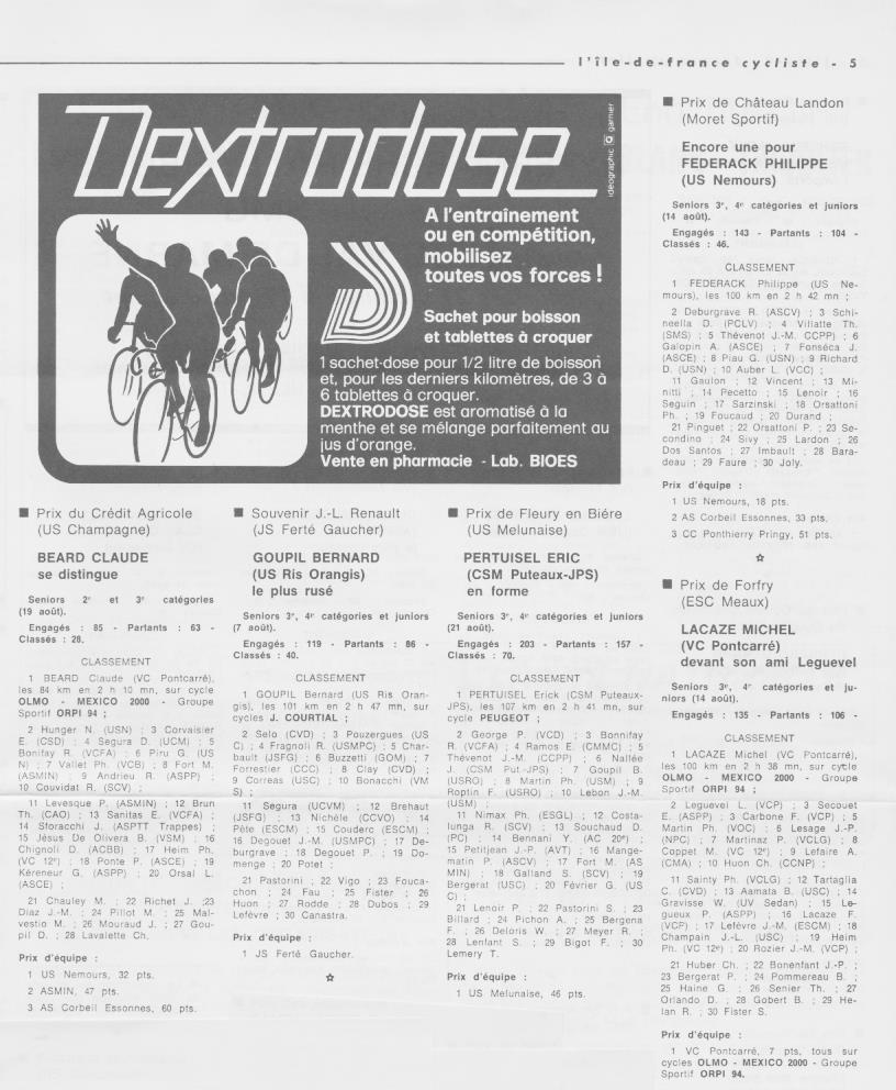 Coureurs et Clubs de septembre 1983 à .......... 00763