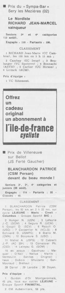 Coureurs et Clubs de septembre 1983 à .......... 01055