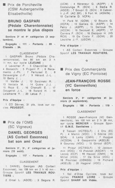 Coureurs et Clubs de septembre 1983 à .......... 0_00923
