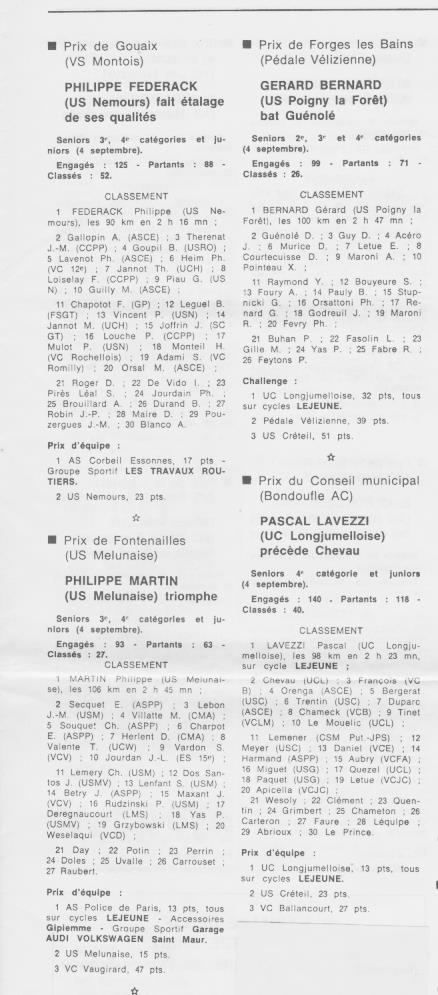 Coureurs et Clubs de septembre 1983 à .......... 0_01325