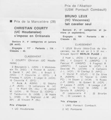 Coureurs et Clubs de septembre 1983 à .......... 0_01424