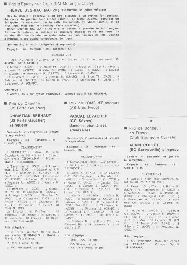 Coureurs et Clubs de septembre 1983 à .......... 0_01525