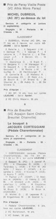 Coureurs et Clubs de septembre 1983 à .......... 0_01622