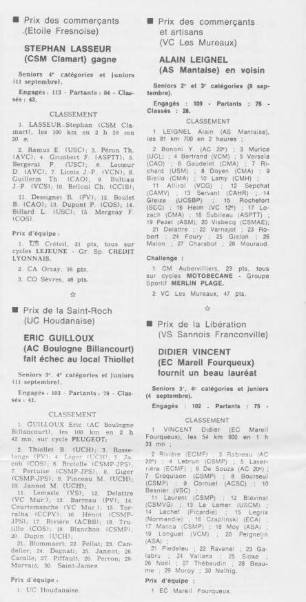 Coureurs et Clubs de septembre 1983 à .......... 0_01821