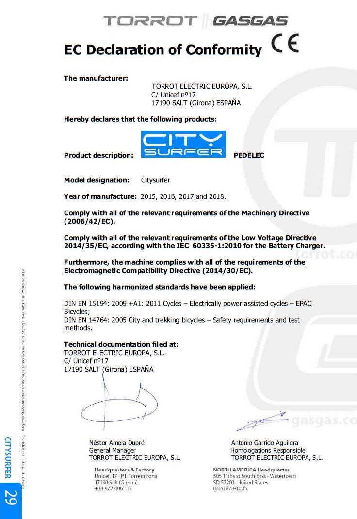 Certificado para circular si quiere ir en bici eléctrica Torrot10