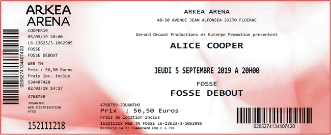 Alice Cooper - Floirac (Arkea Arena), le 05.09.2019 Billet12