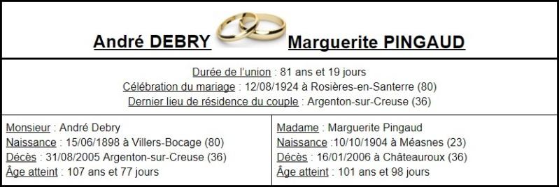 E- LES PLUS LONGS MARIAGES FRANÇAIS - Page 2 Couple22
