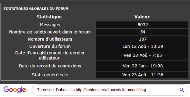 7- Retrouver toutes les informations du forum sur un centenaire Tuto10