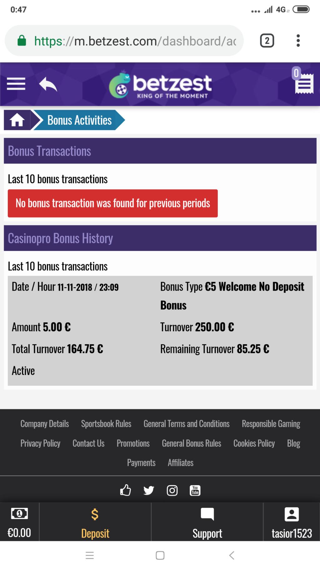Betzest Casino €5 free bonus Screen20