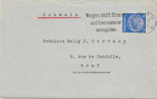 In die Schweiz gelaufene Zensurbelege 00413