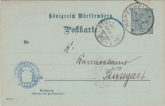 Württemberg - STUTTGART - Briefträgernummernankunftsbestellgangsstempel Img75