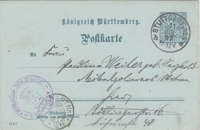 Württemberg - STUTTGART - Briefträgernummernankunftsbestellgangsstempel Img76