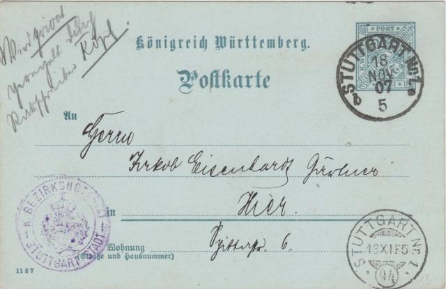 Württemberg - STUTTGART - Briefträgernummernankunftsbestellgangsstempel Img78