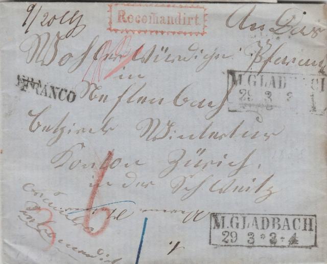 Brief per Einschreiben von Mönchengladbach nach Winterthur, befördert per badischer Bahnpost Img_0091
