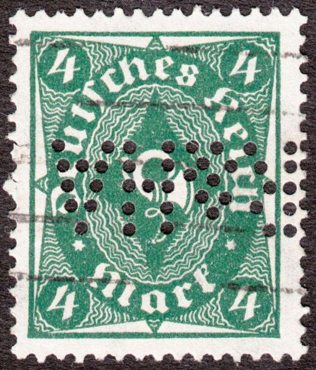 """Deutsches Reich Perfin """"R&HA"""" Img_0171"""