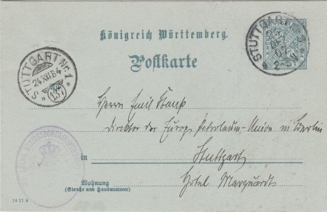 Württemberg - STUTTGART - Briefträgernummernankunftsbestellgangsstempel Img_0249