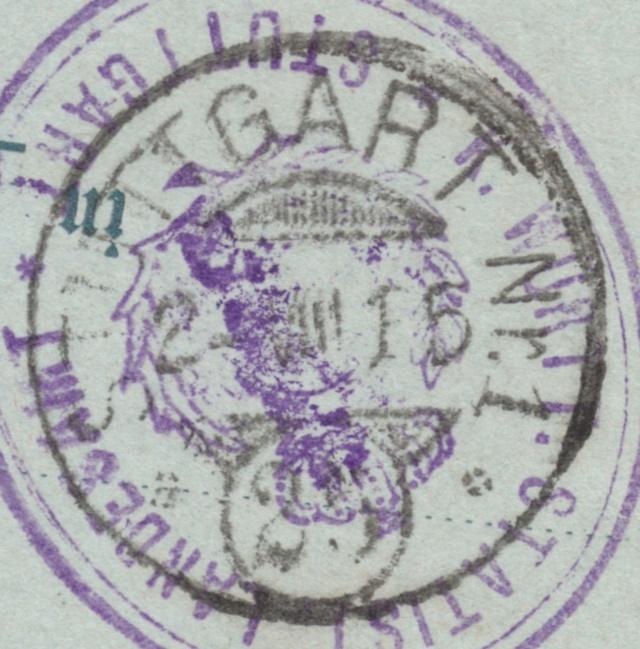 Württemberg - STUTTGART - Briefträgernummernankunftsbestellgangsstempel Img_0261