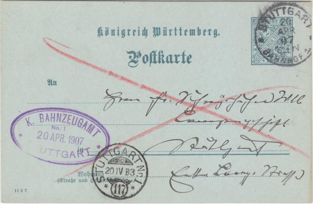 Württemberg - STUTTGART - Briefträgernummernankunftsbestellgangsstempel Img_0264