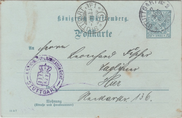Württemberg - STUTTGART - Briefträgernummernankunftsbestellgangsstempel Img_ko72