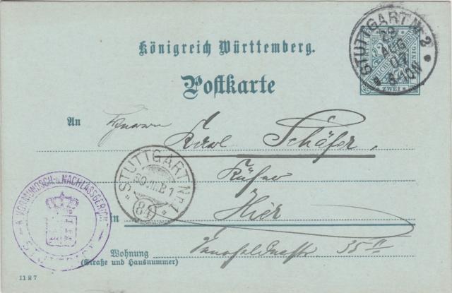 Württemberg - STUTTGART - Briefträgernummernankunftsbestellgangsstempel Img_ko73