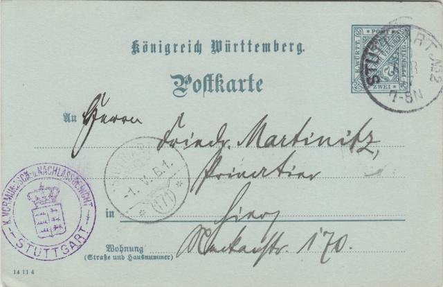 Württemberg - STUTTGART - Briefträgernummernankunftsbestellgangsstempel Img_ko74