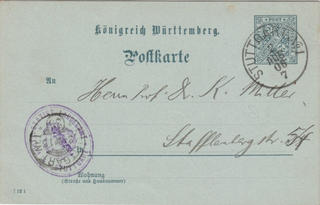 Württemberg - STUTTGART - Briefträgernummernankunftsbestellgangsstempel Img_ko76