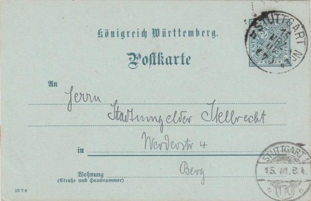 Württemberg - STUTTGART - Briefträgernummernankunftsbestellgangsstempel Img_ko77