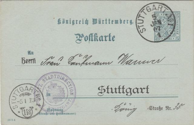 Württemberg - STUTTGART - Briefträgernummernankunftsbestellgangsstempel Img_ko78