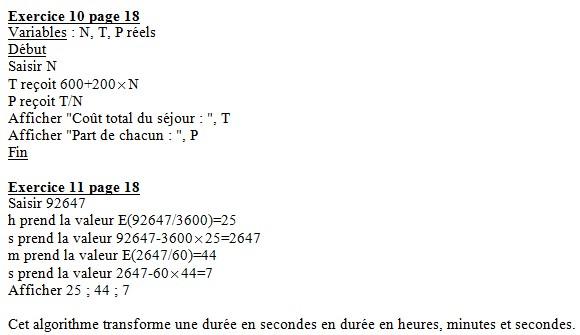 Algorithmes : corrigés des exercices du livre 101110
