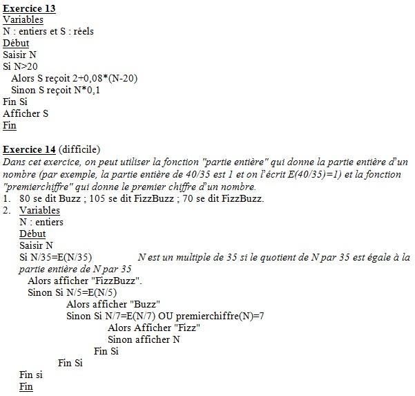 Algorithmes : corrigés des exercices du livre Effac11